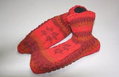 Red wool slipper