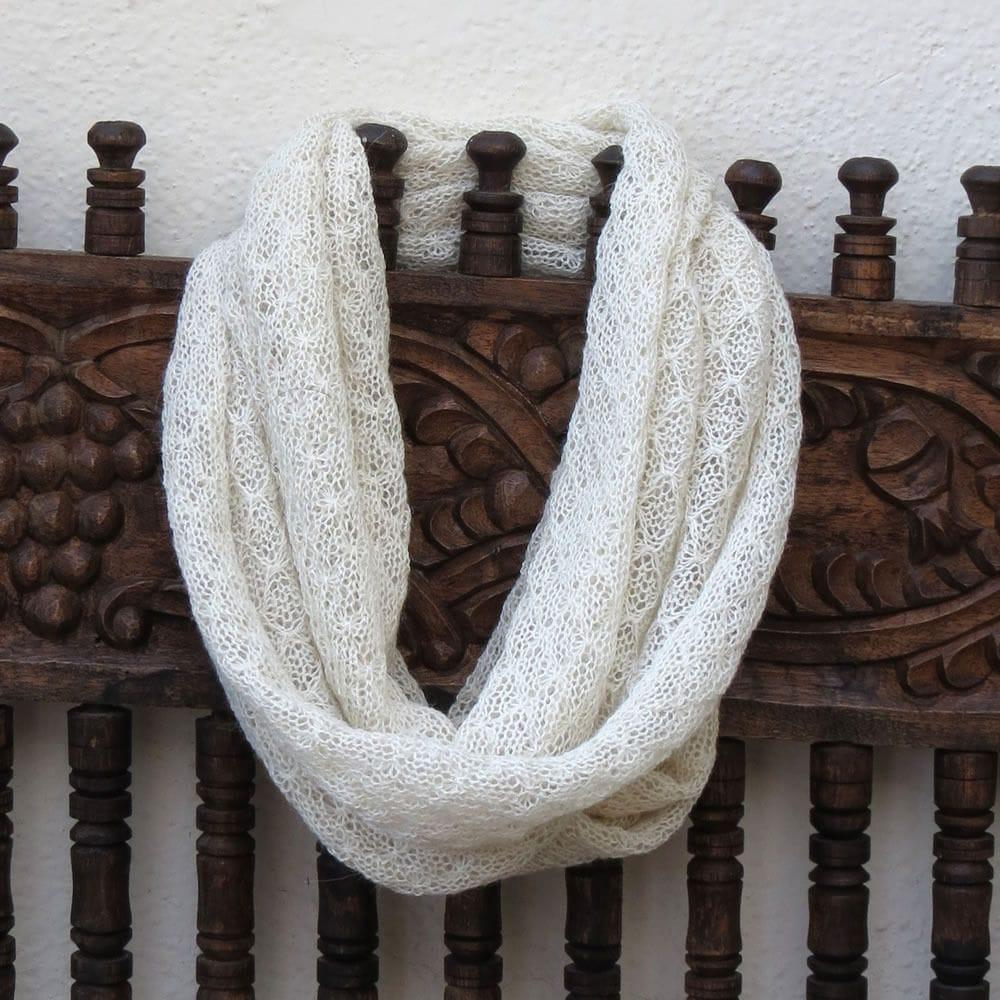 Eternal Lace alpaca scarf - Cream