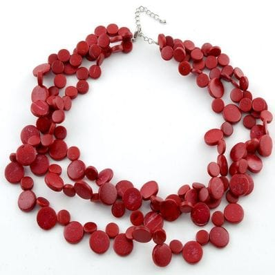 Red  triple strand smarties necklace