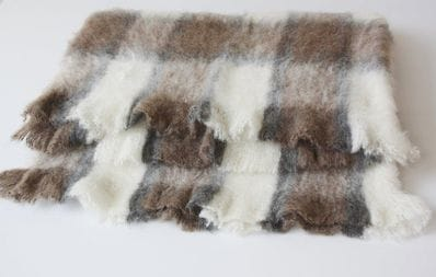 Brushed Australian Alpaca Throw Rug - rose grey check - OUT OF STOCK