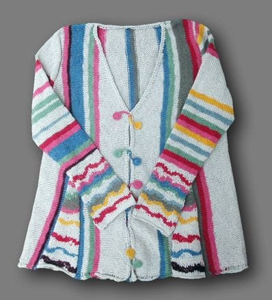 Alpaca Candy Stripes Cardigan (Porridge) PRE ORDER