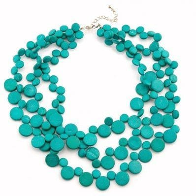 Solid Turquoise 3 Strand Coco Smarties Necklace