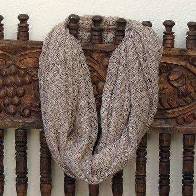 Eternal Lace alpaca scarf  - husk