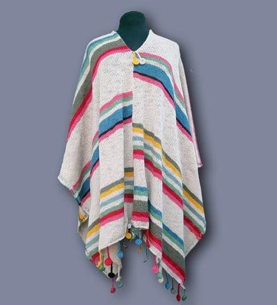 Alpaca Candy Stripes  Poncho ( cream) PRE ORDER