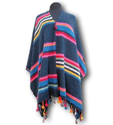 Alpaca Candy Stripes  Poncho - dk blue PRE ORDER