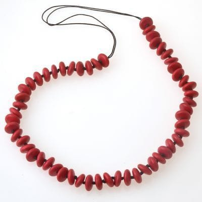 Long Red saucers necklace