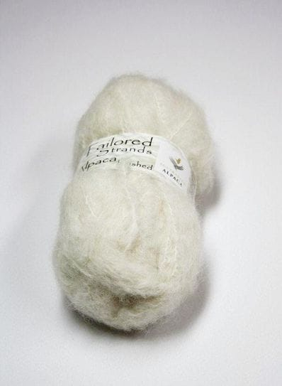 Ivory brushed alpaca yarn 50g