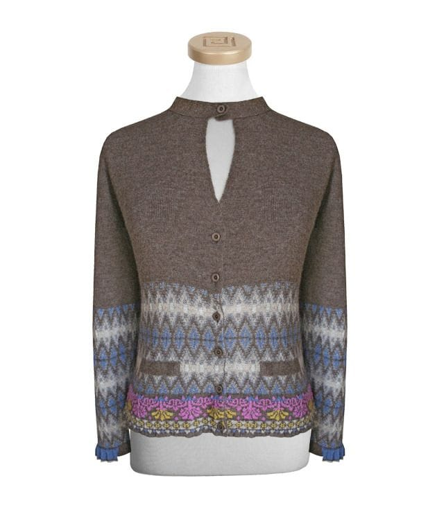 Pleated Ribs Alpaca cardigan -L