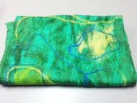 Green Merino & silk felt scarf