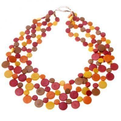 Sunburst triple strand necklace