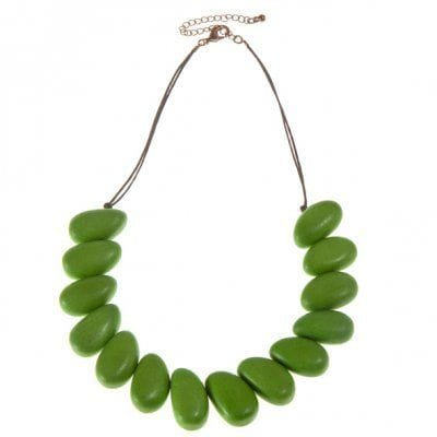FERN GREEN WOODEN  SHORT NECKALCE