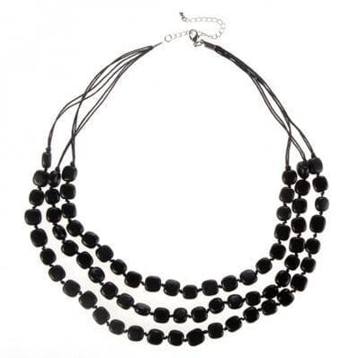 Black triple strand nugget bead necklace
