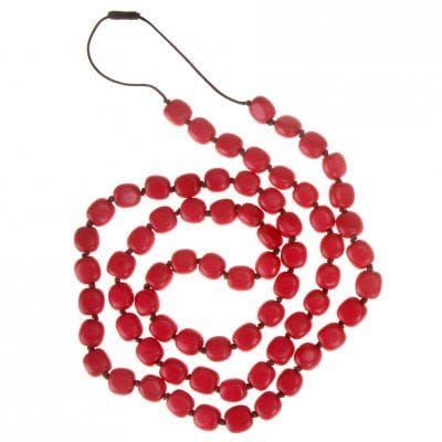 Cherry red nugget long necklace
