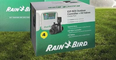 RAINBIRD ESP 4 station Outdoor Controller w/- 4 DVF Sol Valves (Contractors)
