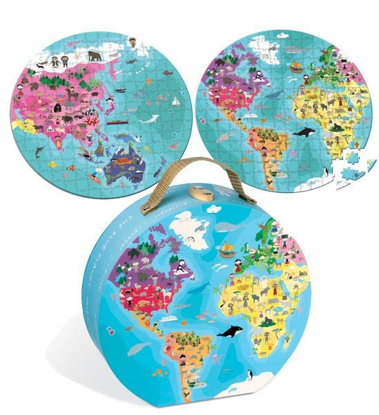 JANOD - Reversible Blue Planet Suitcase Puzzle