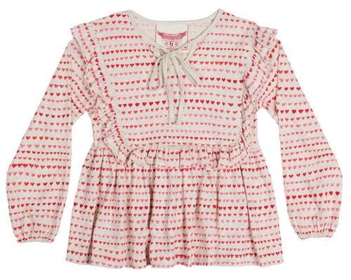 Paper Wings - Peasant T shirt with Frills - Little Heart Stripe