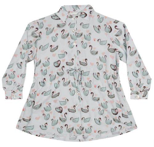 Paper Wings - Shirt Dress - Swan Repeat