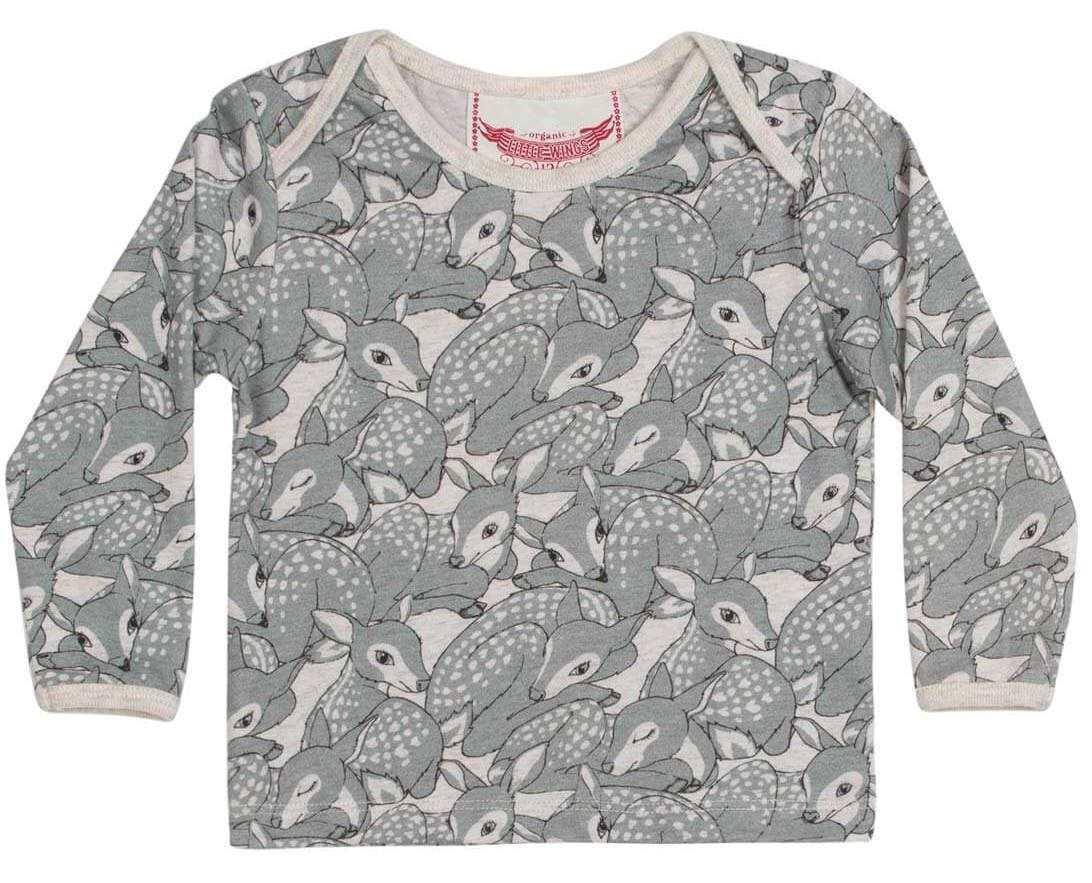 Little Wings by Paper Wings - Envelope Neck Tshirt - Fawns Grey