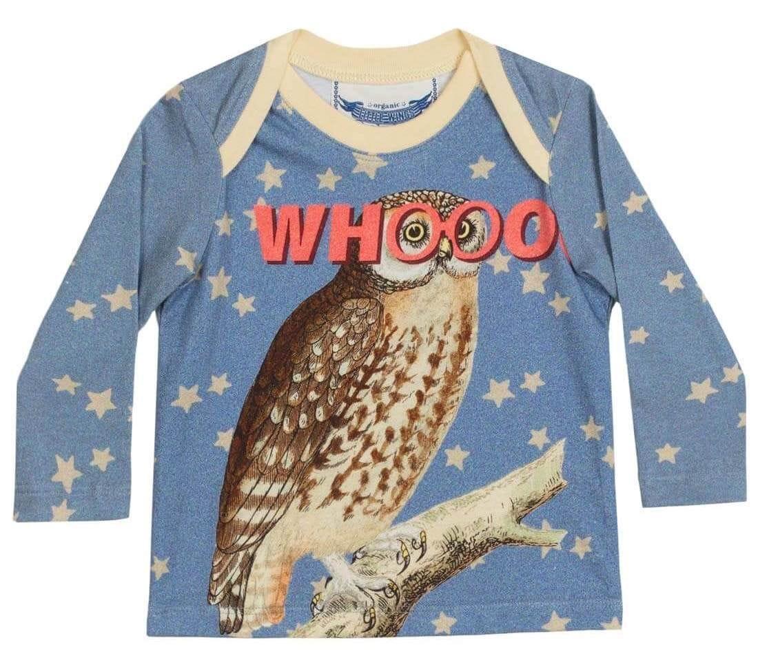 Little Wings by Paper Wings - Envelope Neck Long Sleeve Tshirt - Whooo