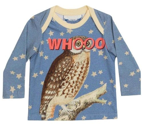 Little Wings by Paper Wings - Envelope Neck Long Sleeve Tshirt - Whooo