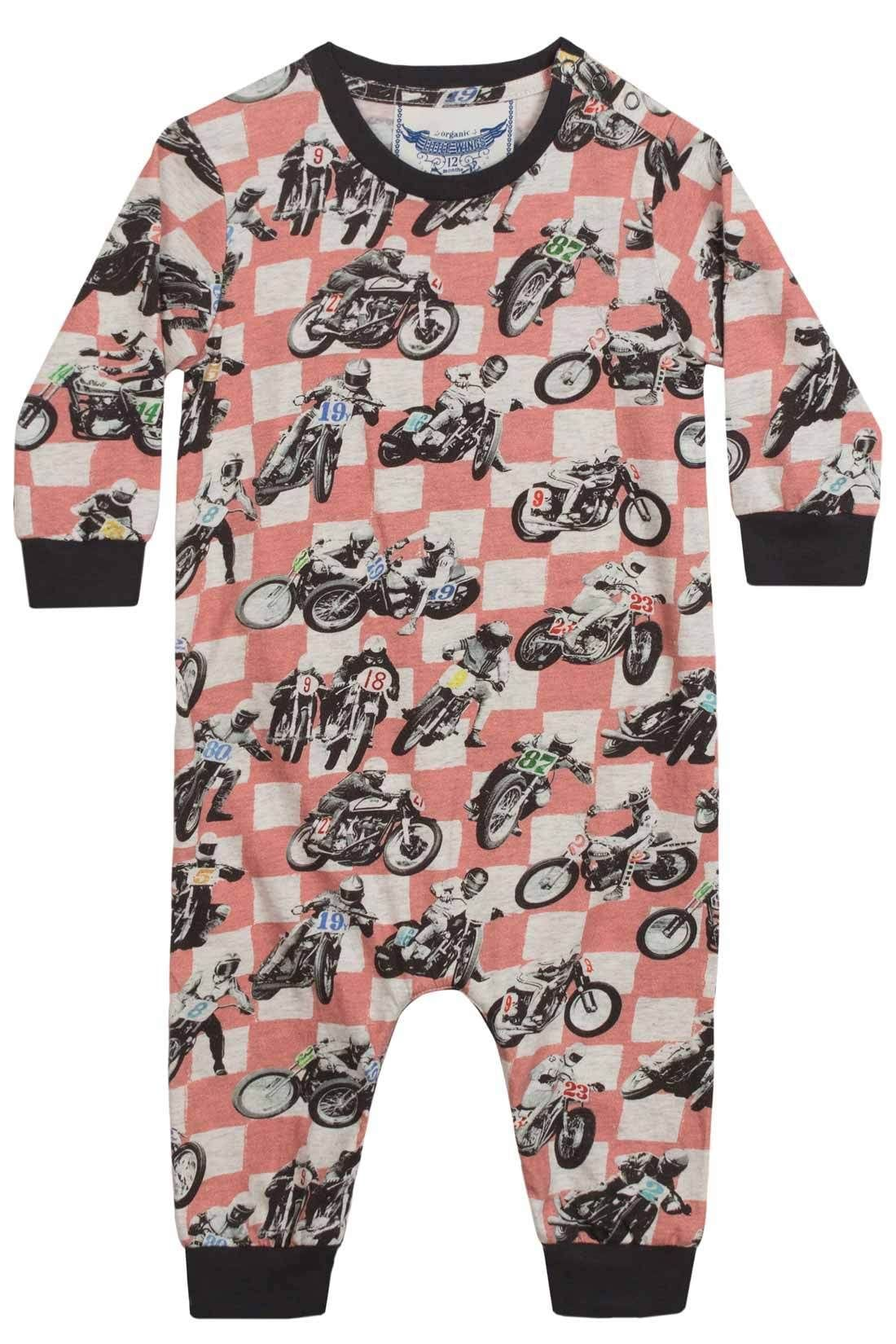 Little Wings by Paper Wings - Relaxed Fit Romper - Motorbike Check