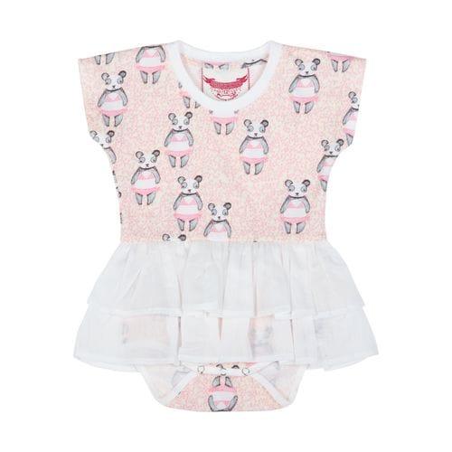 Little Wings by Paper Wings - T-shirt Romper w /Skirt - Random Pandas