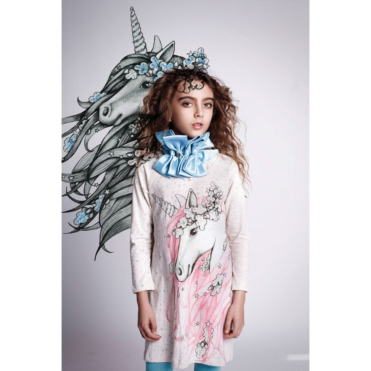 Paper Wings - Frilled Shift Dress - Winter Unicorn
