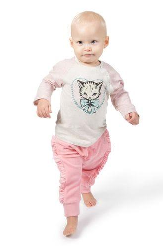 Little Wings by Paper Wings - Long Sleeve Raglan T-Shirt - Heart Kitty