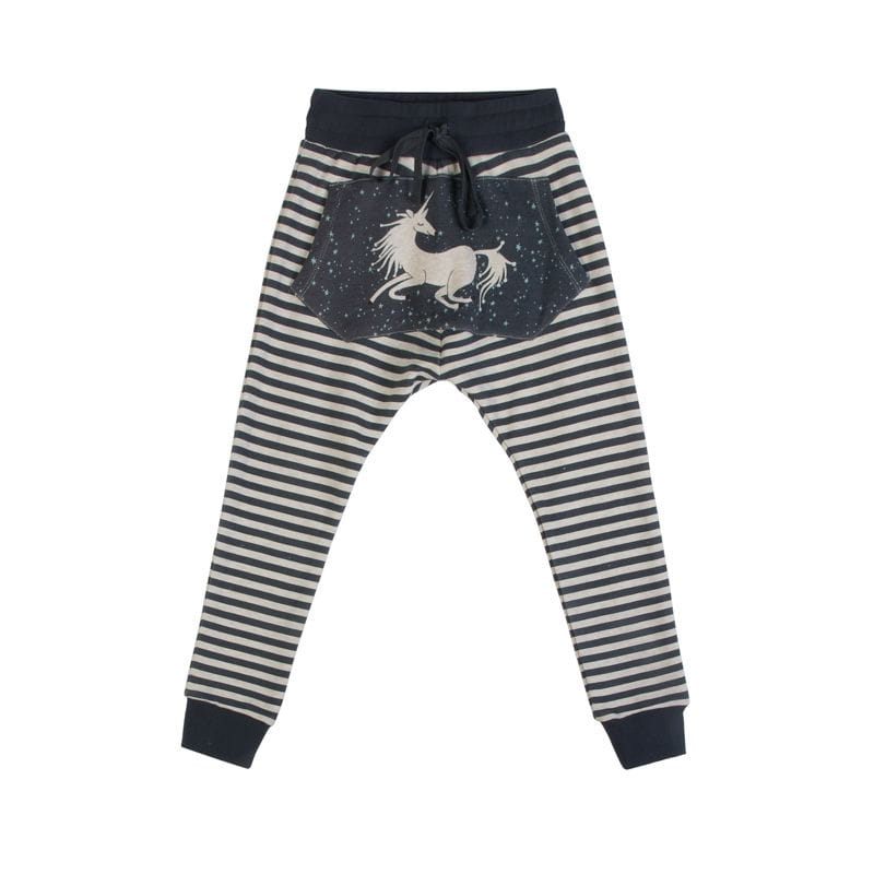 Paper Wings - Lined Slouch Trackies - Pocket Unicorn