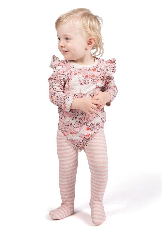 Little Wings by Paper Wings - Leggings with Feet - Pink Stripes