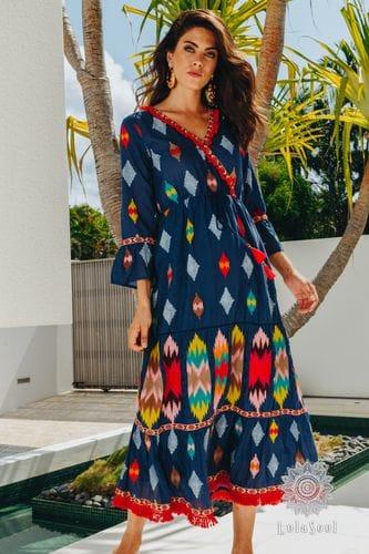 Lula Soul - Aztec Maxi Dress - Navy
