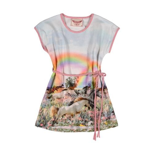 Paper Wings - Tee Dress with Plaited Belt - Rainbow Horses