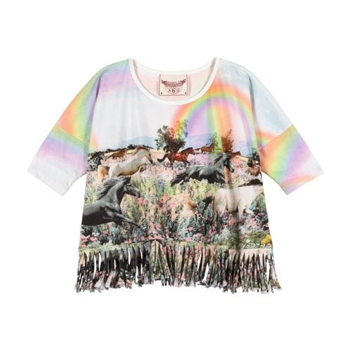 Paper Wings - Fringed Oversized Tee - Rainbow Horses