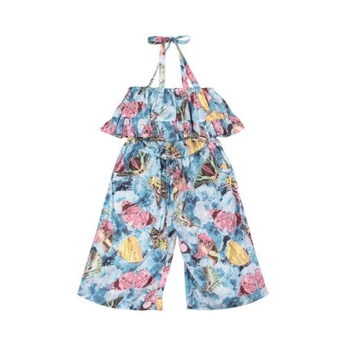 Paper Wings - Frilled 3/4 Romper - Vintage Butterfly Roses