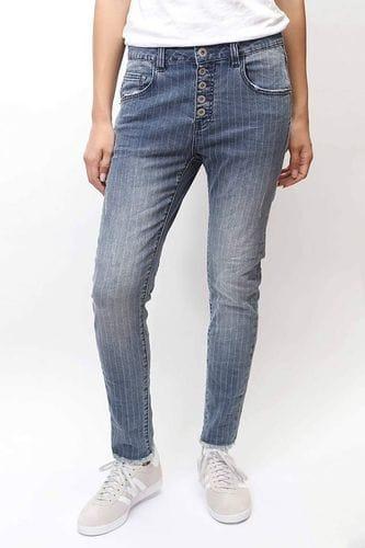 Bianco Jeans - Striped Buttercup Boyfriend Jean - Light Blue Denim