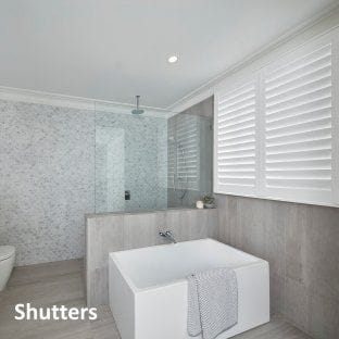 Luxury bathroom with plantation blinds
