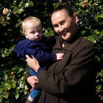 Baby Naming Liz holding baby