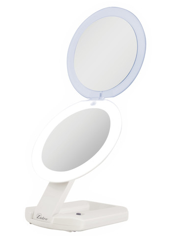 LED LIGHTED DUAL FOLD DOWN TRAVEL MIRROR