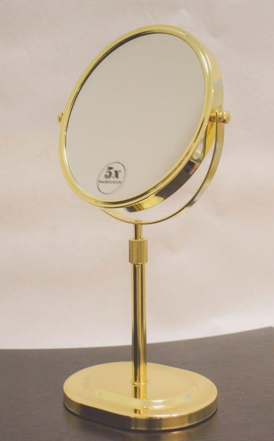 Bathroom Vinity Mirror Freestanding Gold Finish With 5x