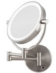 Cordless Wall Mount LED Halo Lighted 5x Magnifying Mirror