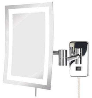 Thumbnail Wall Mounted LED Lighted 5x Rectangular Magnifying Mirror Plug In