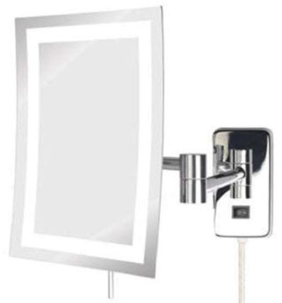 Wall Mounted LED Lighted 5x Rectangular Magnifying Mirror Plug In