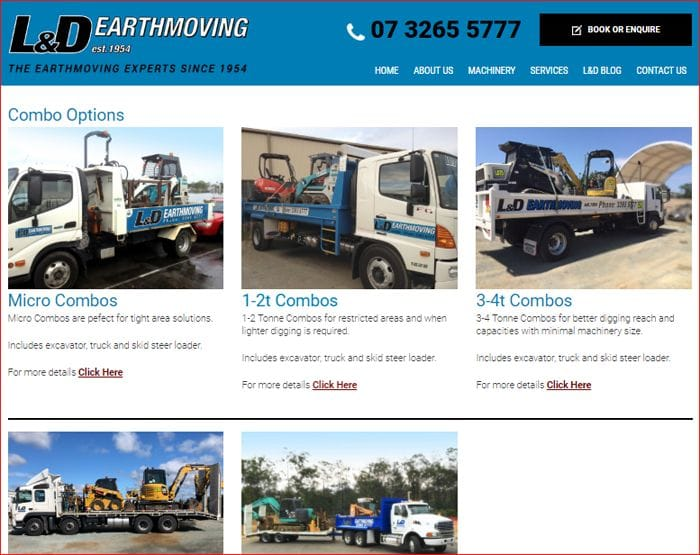 L&D Earthmoving Combo Options
