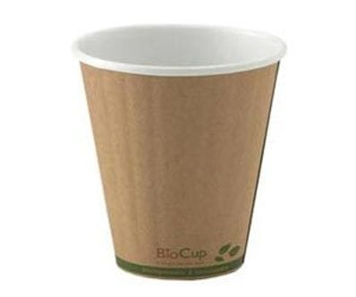 295ml/8oz(90mm) Kraft Green Stripe Double Wall Biocup