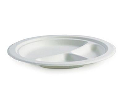 "9"" Round 3 Compartment BioCane Plate"