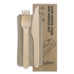 16cm Wood Knife-Fork-Napkin Set