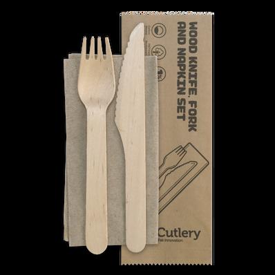 16cm Wood Knife-Fork-Napkin Set
