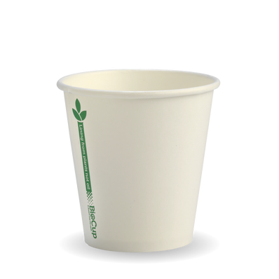 230ml/6oz(80mm) White Green Line Single Wall Biocup