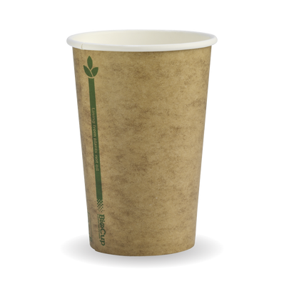 320ml/10oz(80mm)kraft Green line Single Wall Biocup