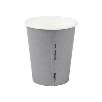 8oz PLA Grey Single Wall Hot Cup